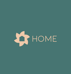 flower home logo design template gold icon vector image vector image