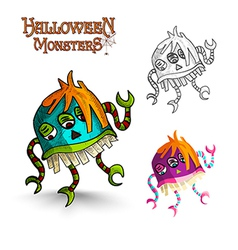 Halloween monsters scary cartoon freak eps10 file vector