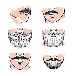 Hand drawn beards hipster mustache vector image