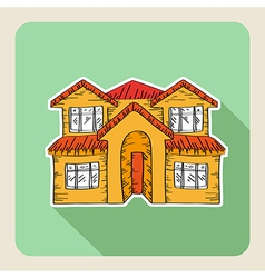 Hand drawn real estate family house vector