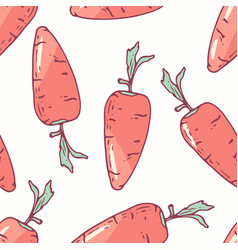 hand drawn seamless pattern with carrot vector image vector image