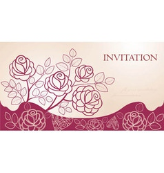 Invitation card with flowers vector