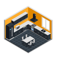 Kitchen interior isometric concept vector