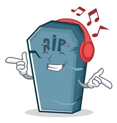 Listening music tombstone character cartoon object vector