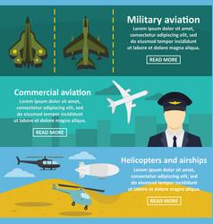 Military avia banner horizontal set flat style vector