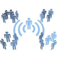 person wifi wireless connection to people groups vector image
