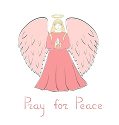 Praying angel and lettering vector