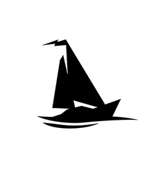 Sailing boat logo Flat symbol with flag at the top vector image vector image