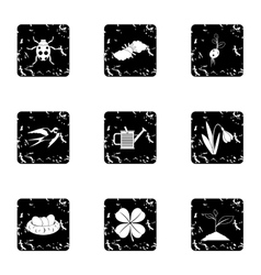 Tending garden icons set grunge style vector image