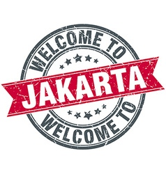 Welcome to jakarta red round vintage stamp vector