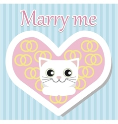 White cat lies and looking for Valentine day vector image vector image
