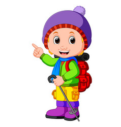 young girl ready for hiking vector image vector image