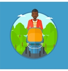 Father walking with baby stroller vector