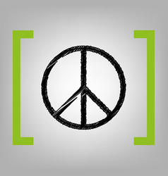 peace sign black scribble vector image