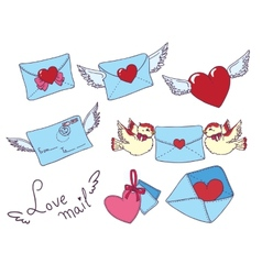 Set e-mail envelop icons with heart vector