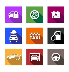 Automobile and service flat icons or web buttons vector