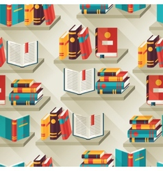 Seamless pattern with books on bookshelves in flat vector