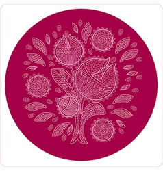 Decorative flower in circle ornament vector