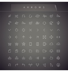 Arrows thin icons set vector