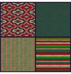 Seamless knitted pattern set vector