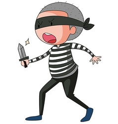 Robber holding sharp knife vector