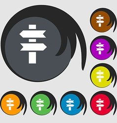 Line directs icon symbols on eight colored buttons vector