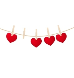 Heart clothespins isolated vector