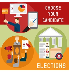 Election voting and debate mini banners set flat vector