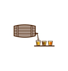 Beer flight keg pouring on glass retro vector