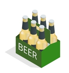Color isometric icon with case of beer with vector
