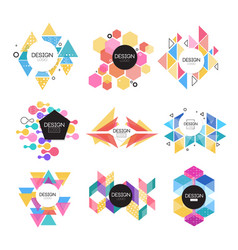 abstract logo design set colorful geometric shape vector image vector image