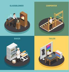 Artisan professions 2x2 design concept vector