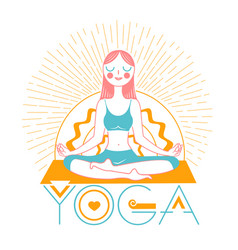 banner icon girl yoga linear style vector image vector image