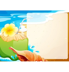 Blank border with coconut juice on beach vector