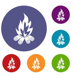 bonfire icons set vector image
