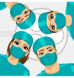 Bottom view of group of surgeons vector image vector image