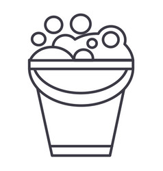 bucket with soap foam line icon sign vector image