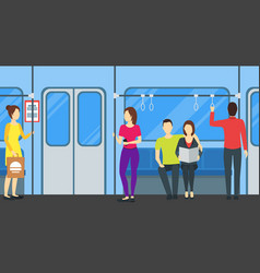 cartoon people in subway train card poster vector image vector image