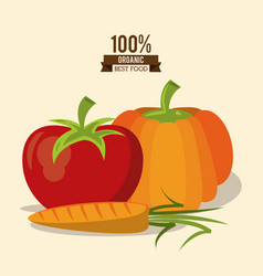 colorful poster of organic best food with pumpkin vector image vector image