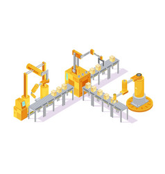 conveyor equipment isometric composition vector image vector image