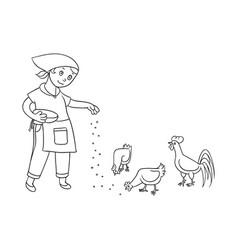 flat teen girl feeding domestic birds vector image