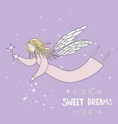 Flying fairy in night sky vector