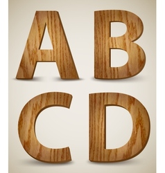 Grunge Wooden Alphabet Letters A B C D vector image vector image