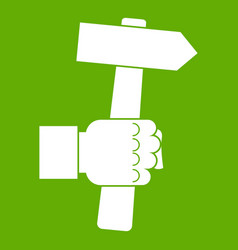 hand hoding hammer with tool icon green vector image