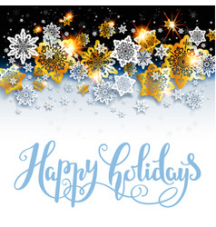 happy holiday background with shine snowflakes vector image vector image