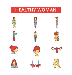 health woman thin line icons linear vector image vector image