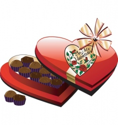 heart chocolate box vector image vector image