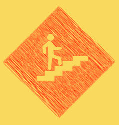 Man on stairs going up red scribble icon vector