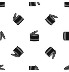 open tin can pattern seamless black vector image