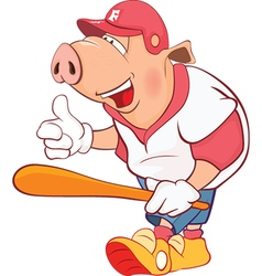Pig baseball player cartoon vector